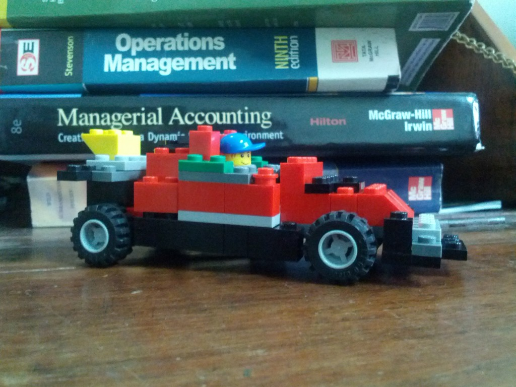 My F1 car beside my managerial accounting and operations-management text books!
